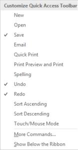Customization Quick Access Toolbar 2